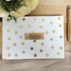 Christening Guest Book & Pen Gold Spots