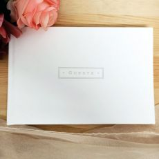 White Leather Guest Book & Pen