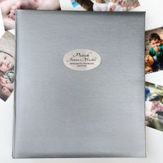 Baby Personalised Photo Album Quote 500 Silver