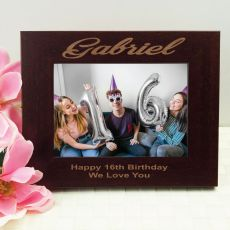 16th Birthday Engraved Wood Photo Frame- Mocha