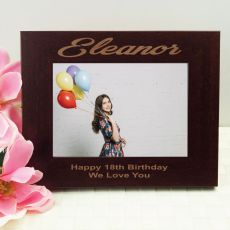 18th Birthday Engraved Wood Photo Frame- Mocha