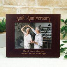 Anniversary Engraved Wood Photo Frame- Mocha
