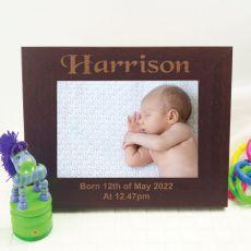 Baby Engraved Wood Photo Frame - Mocha