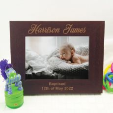 Baptism Engraved Wood Photo Frame - Mocha