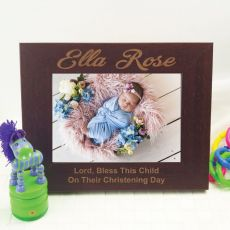 Christening Engraved Wood Photo Frame - Mocha
