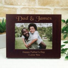 Dad Engraved Wood Photo Frame - Mocha