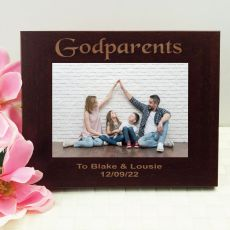 Godparent Engraved Wood Photo Frame- Mocha