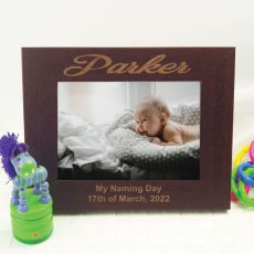 Naming Day Engraved Wood Photo Frame - Mocha
