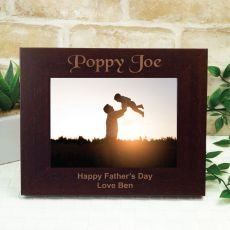 Poppy Engraved Wood Photo Frame - Mocha
