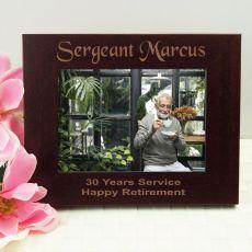 Retirement Engraved Wood Photo Frame- Mocha