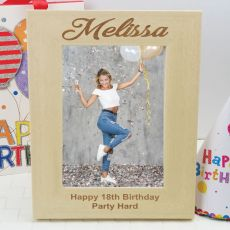 18th Birthday Engraved Wood Photo Frame