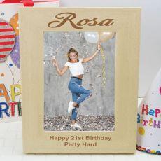 21st Birthday Engraved Wood Photo Frame