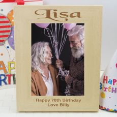 70th Birthday Engraved Wood Photo Frame
