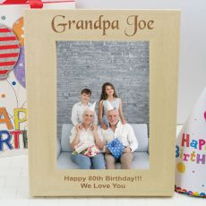 80th Birthday Engraved Wood Photo Frame