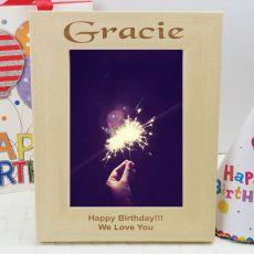 Birthday Engraved Wood Photo Frame