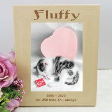 Cat Memorial Engraved Wood Photo Frame
