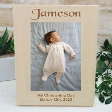 Christening Frame Engraved Wood Photo Frame