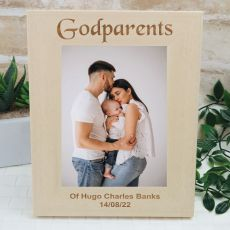 Godparent Engraved Wood Photo Frame