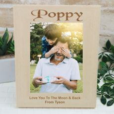 Poppy Engraved Wood Photo Frame