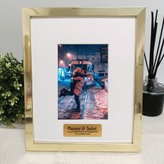 Engagement Personalised Photo Frame 4x6 Gold