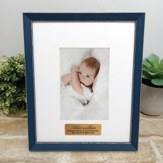 Personalised  Baptism Photo Frame Amalfi Navy 4x6