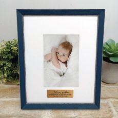 Personalised Christening Photo Frame Amalfi Navy 4x6