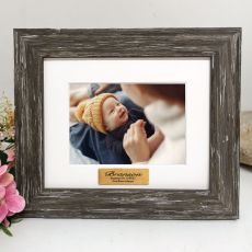 Personalised Baptism Photo Frame Hamptons Brown 4x6
