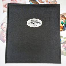 Personalised Baby Birth Details Photo Album Black 500