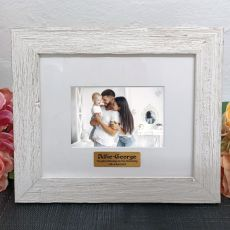 Personalised Christening Frame Hamptons White 4x6