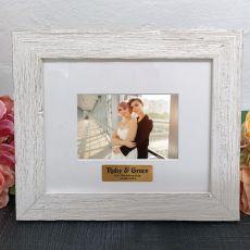 Personalised Wedding Frame Hamptons White 4x6