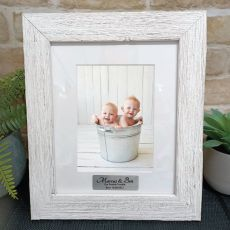 Personalised Baby Frame Hamptons White 5x7