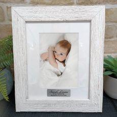 Baptism Personalised Frame Hamptons White 5x7