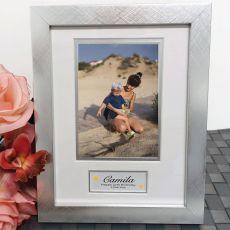 50th Birthday Photo Frame Silver Wood 4x6 Photo