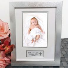 Christening Photo Frame Silver Wood 4x6 Photo
