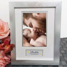 Dad Photo Frame Silver Wood 4x6 Photo