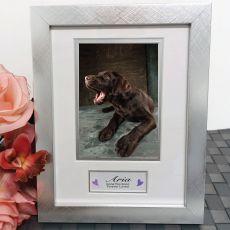 Pet Memorial Photo Frame Silver Wood 4x6 Photo