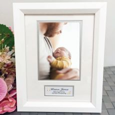 Christening Photo Frame White Wood 4x6 Photo