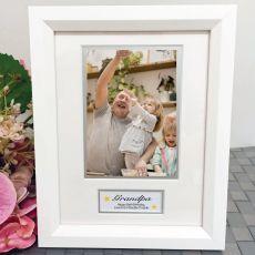Grandpa Photo Frame White Wood 4x6 Photo
