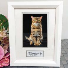 Pet Memorial Photo Frame White Wood 4x6 Photo