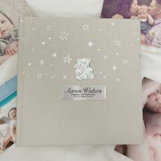 1st Birthday Photo Album 200  - Silver Teddy