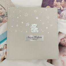 Personalised Baptism Photo Album 200  - Silver Teddy