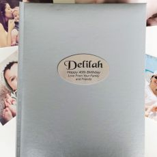 Personalised 40th Birthday Album 300 Photo Silver