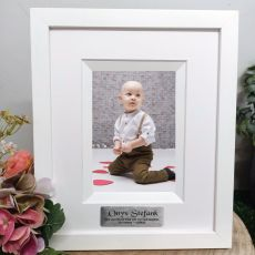 Christening Personalised Photo Frame Silhouette White 4x6