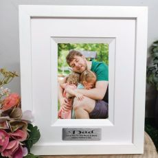Dad Personalised Photo Frame Silhouette White 4x6