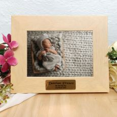 Naming Day Limewash Wood Photo Frame