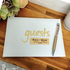 Personalised Christening Guest Book & Pen White & Gold