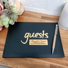Christening Guest Book & Pen Black & Gold