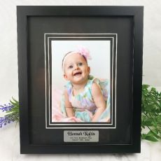 Baptism Personalised Photo Frame Black Timber Verdure 5x7