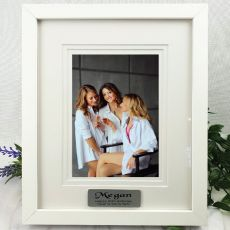 60th Personalised Photo Frame White Timber Verdure 5x7