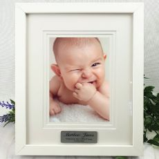 Baby Personalised Photo Frame White Timber Verdure 5x7